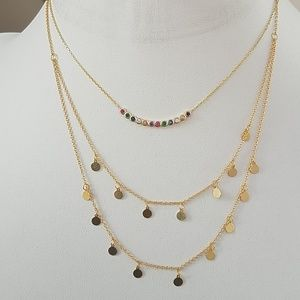 """Gold plated Rainbow Adjustable Necklace 16 to 18"""""""